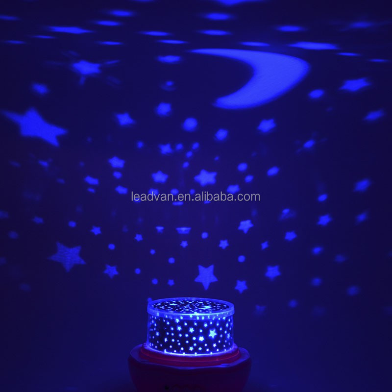Romantic Starry Star Moon Sky Rotation Projector Lamp Night Light For Kids Baby Children