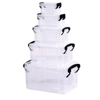 Multi transparent PP stackable photo plastic storage box bin with handle