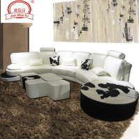 extra long top grain cow leather sofa with round ottoma SL0007