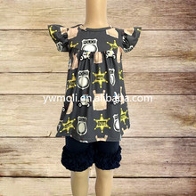 wholesale milk silk kids clothing police bus pattern frock design dress match ruffle shorts chinese clothing manufacturers