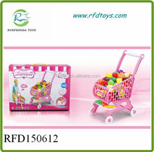 Fruits vegetables food trolley toy supermarket kids shopping cart toy