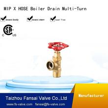 "High quality cSA cUPC red multi-turn handwheel male * hose 1/2"" 3/4"" forged light weight boiler drain brass stop valve"