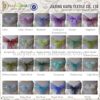 Crystal organza bows various color chair sashes