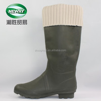 Waterproof High Heel Black Rubber Women Rain Boots with white Knitting