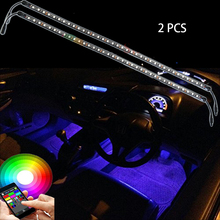 Car LED Strip Light,2pcs DC 12V BLUETOOTH Car Interior Lighting with Sound Active Function and Wireless Remote Control