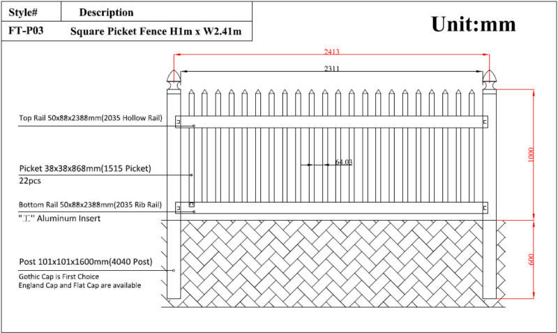 picket fence drawing. Components Of Plastic Picket Fence: Fence Drawing E