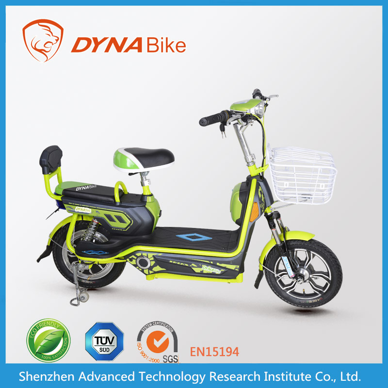 """DYNABike"" brand light stylish 14 inch tire two wheel electric motorbike for sale with basket"