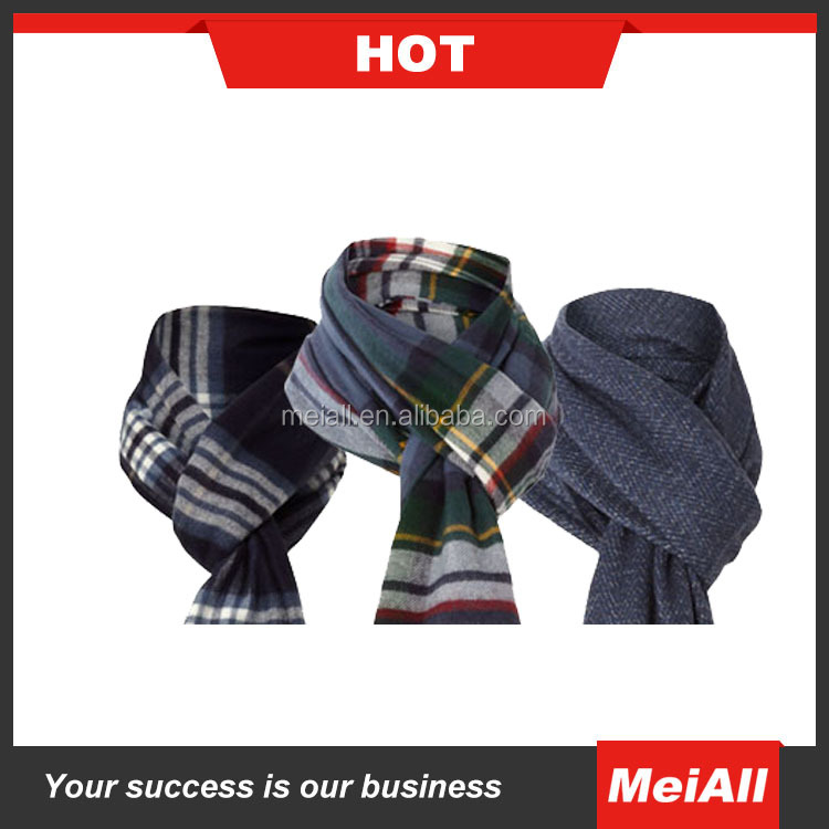 Fashion woven square plaid silk brushed fabric men's scarf cashmere scarf for men