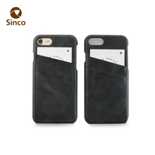 Hard open button stylish card slot cellular mobile phone back cover case pu leather for smartphone