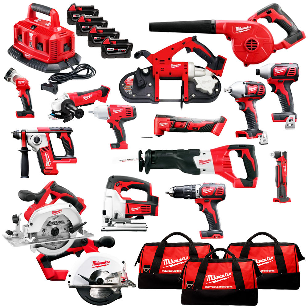Milwaukee Power Tools 2695-15 M18 18-Volt, 220v Cordless Power Lithium-Ion 15-Tool Combo Kit, Electric Drill