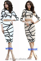 2016 Elegant Design Long Sleeve Bandage Vintage Style Dress Unique Two Pieces Bandage Dress