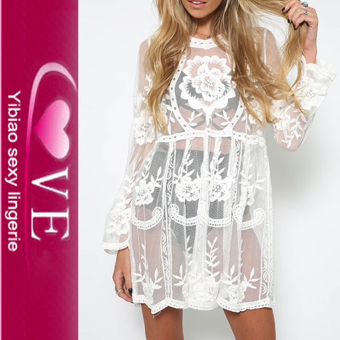 Long Sleeve High Neckline Mesh Lace Fabric Beach Cover Up Dress