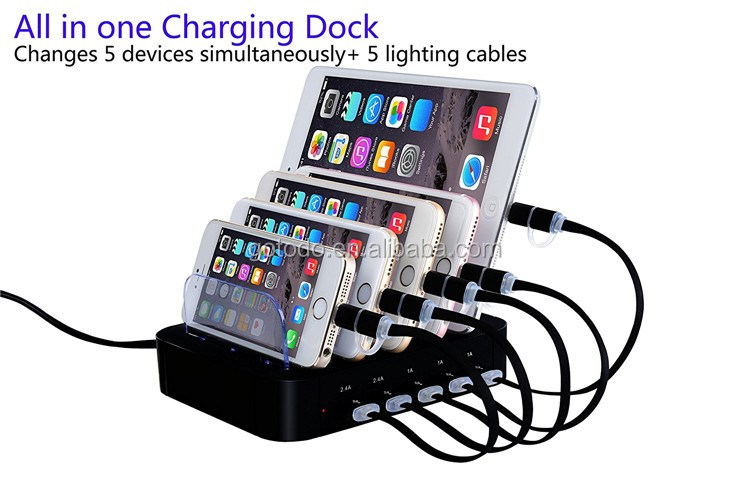 6A 5 port travel charging station fast charger for mobile phone / tablet PC