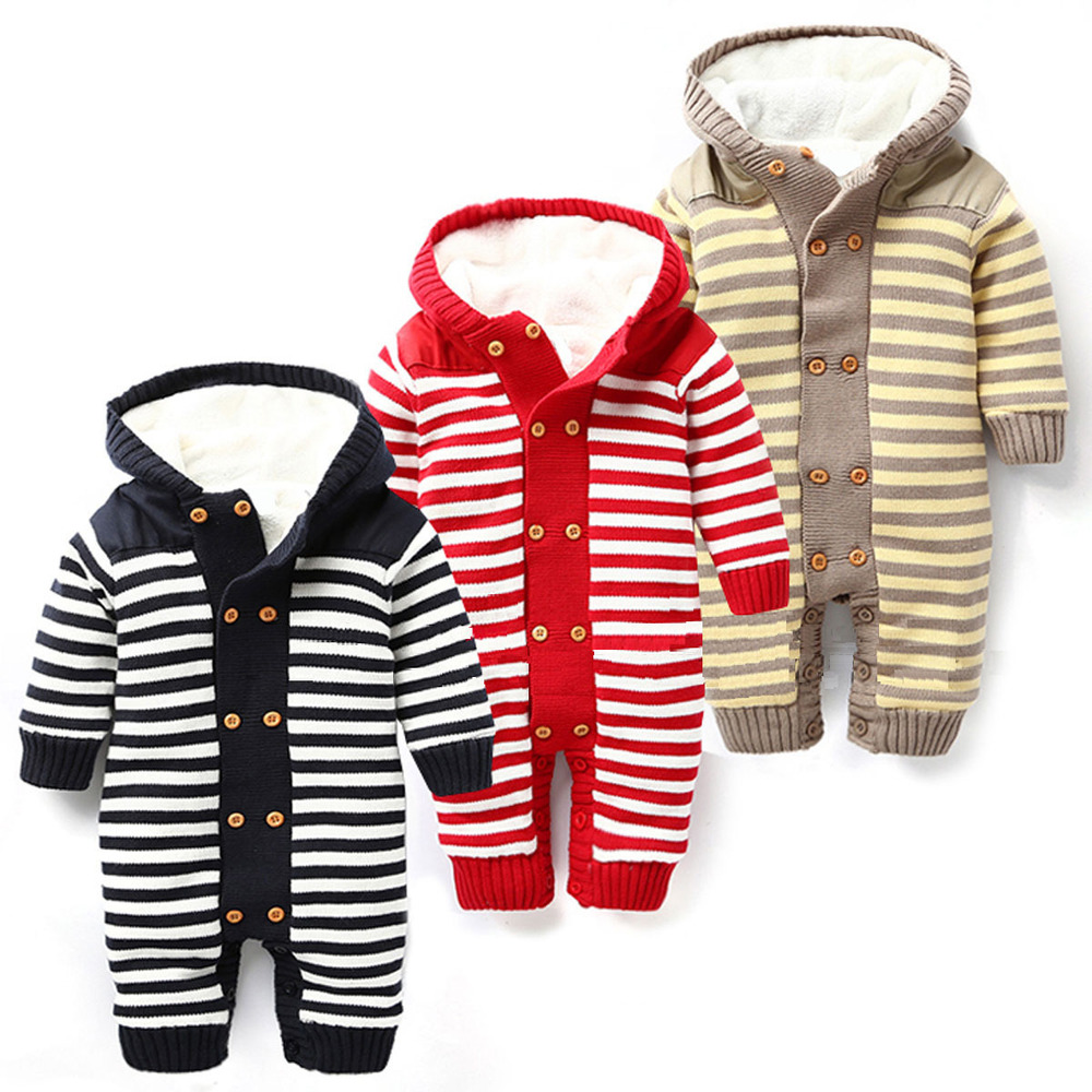Roupa De Bebe Menino 2015 New Winter Baby Rompers Cotton Thick Warm Baby Boy Clothes Hooded Striped Unisex Overalls MX030