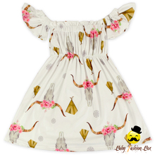 Sweet Honey Clothes Off-shouder Printed Girls' Dress Ruffle Indian Frock Design