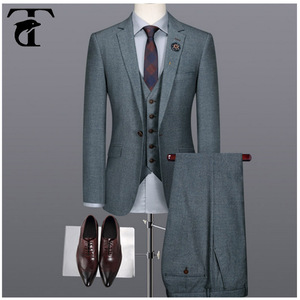 2017 High Quality turkish direct manufacturer mens formal party wear Slim Fit stripe check 3 piece Wool blue man wedding suit