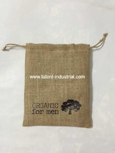 Fashion drawstring burlap coffee Pouch Bags with hemp cord and custom printing