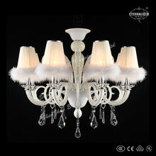 2014 luxury modern white glass chandeliers with shade ETL84195