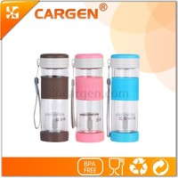 Heat insulation separation of tea double wall glass water bottle