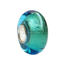 Wholesale Beautiful Ocean Sea Golden Beach Murano Glass Bead with 925 Sterling Silver Tube For European Bracelets