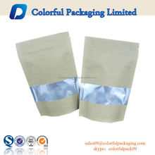 Stand Up Aluminum Foil Kraft Paper Bag with Window and Zipper