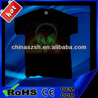 fashion cool flashing LED light EL T-shirt for dancing with colorful logo