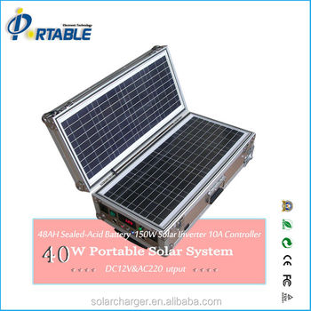 solar power system portable solar system 40W with pull rod and wheels
