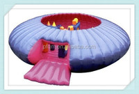 Cheap white and red round inflatable jumping bouncer tent used for sale