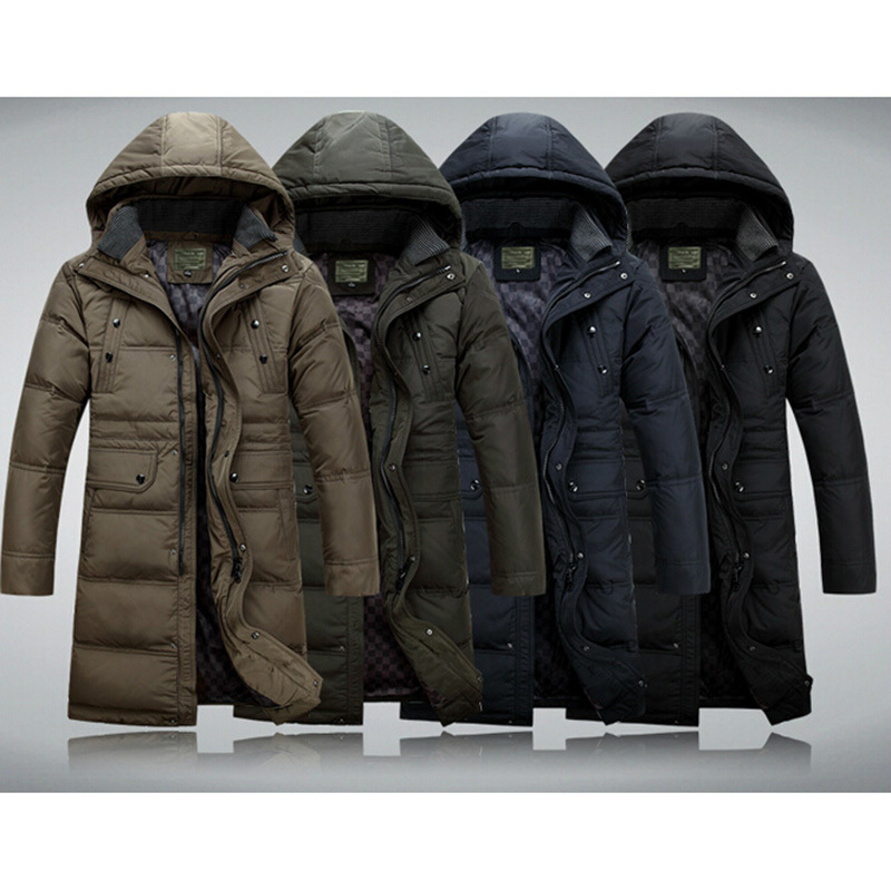 MOON BUNNY 2016 Winter Jacket Men Super Long Down Jacket Winter Coat High Quality Duck Down Warm Knee-length Hooded Parka Outwe