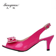 China Factory Direct Shoes Peep Toe Buckle Sweet Bowknot Handmade Women Shoes High Heel Sandals