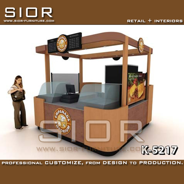 2017 Hot Selling Retail Food/Cake Showcase/Snack Waffle Mall Kiosk Vendor