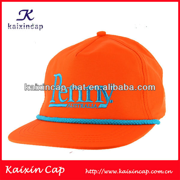 100% Cotton Snapback Cap With 3D Embroidery/Orange Cap And Hat With Rope/Blank Hat And Cap