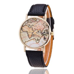 3 colors High Quality Vintage Leather Strap Watch World Map Watch Unisex Lady Dress watche
