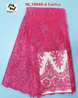 2014 Latest design african french lace dress fabaric of NL10037-4 fushia