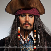 wax figure of famous movie star Captain Jack statue