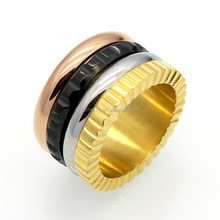 New Style Gear Rotating Ring Stainless Steel Ring Four Color Rims gold ring designs