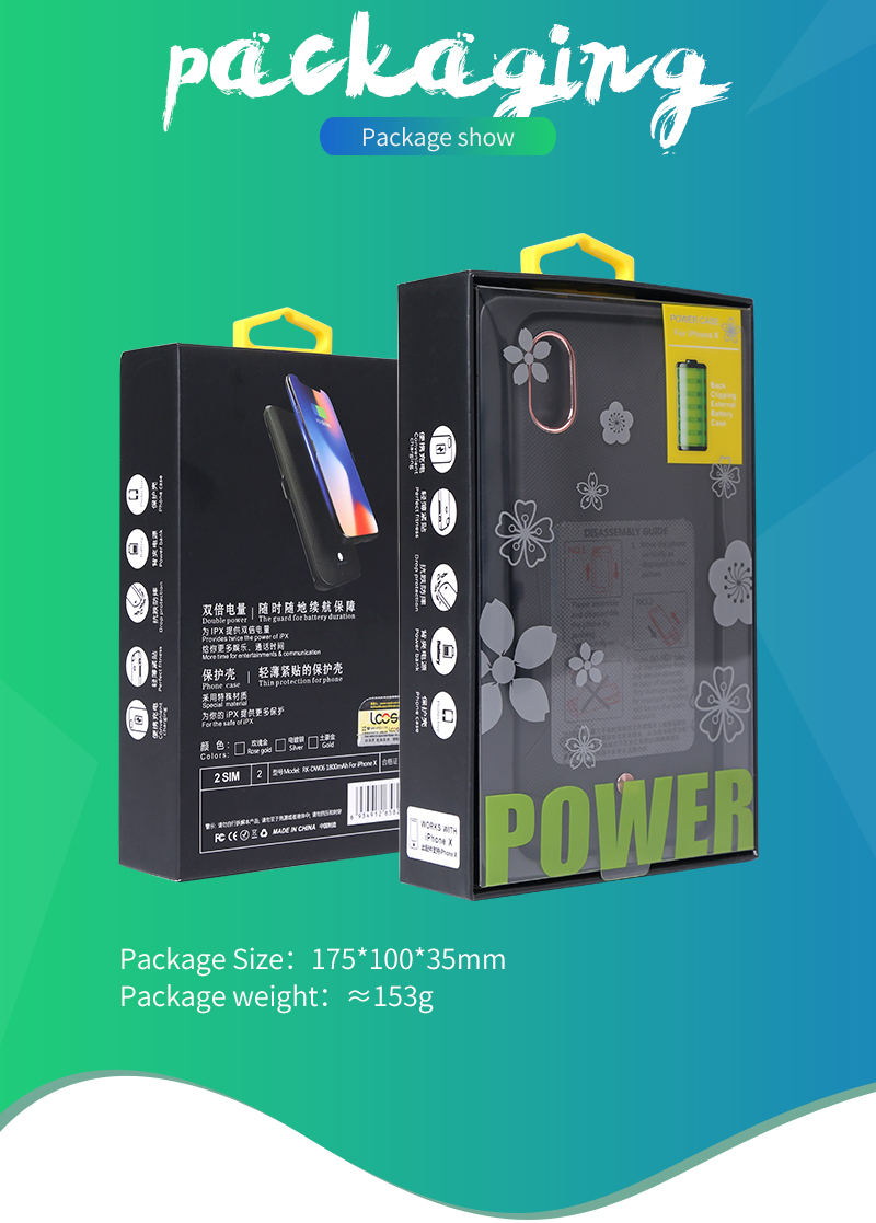1800mAh Portable Extended Battery charging case power bank battery case for Iphone X
