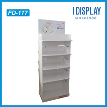 China Manufacturer 5 Tiers Recyclable White Paper Display Hook Shelf T-shirt Cardboard Display Stand With Customized Logo