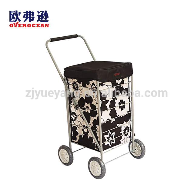 High quality printing folding shopping trolley bag with 4 wheels