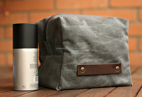 Waxed canvas toiletry bag with leather trim/dopp kit in waxed/travel shave bag for men
