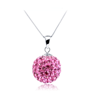 Charming Necklace Pendant Austrian Crystal 925 sterling silver Pendant of 4 color beaded necklace(No chain)