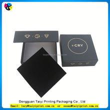 Customized printed Metallic paper white jewelry packaging box