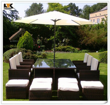 6 to 12 Seat BlackBrown mix weave with Cover & Parasol Havannah Cube Armchairs Set