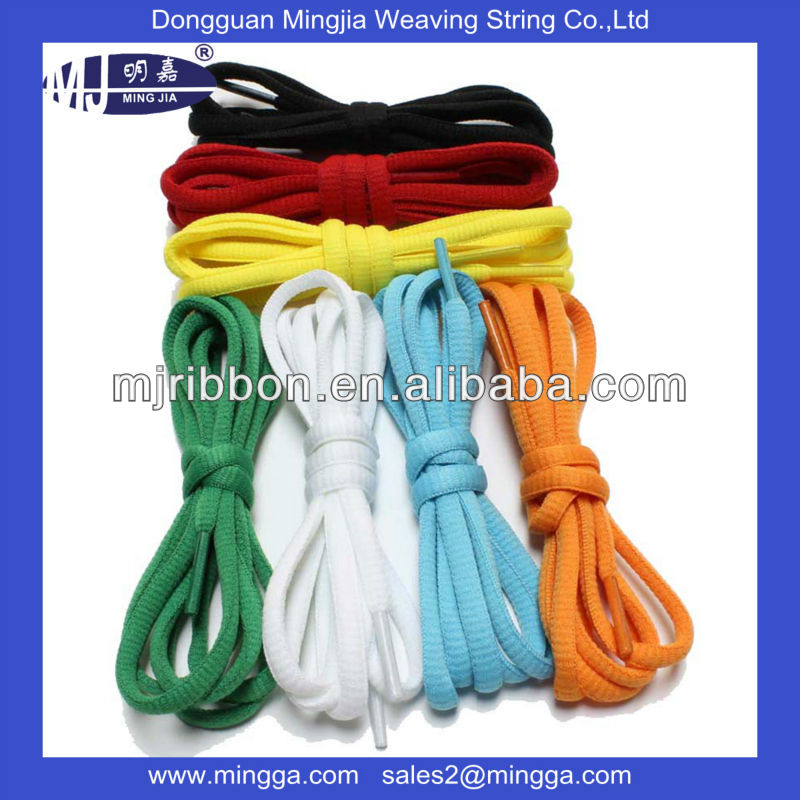 wholesale polyester colorful oval athletic flat shoe string