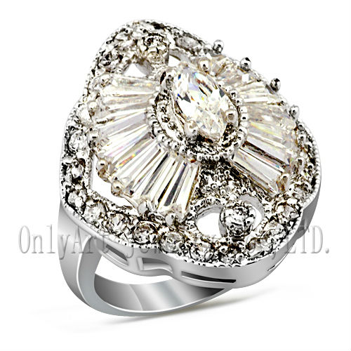 Top-ranking stone and crafts nickel free real rhodium plated women's wedding silver rings