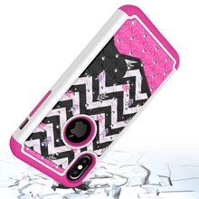 For Iphone 10 Lady Style Diamond Studded Colorful Painting Cell Phone Case