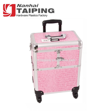 2 in 1 professional hard pink leather cosmetic trolley makeup cases with drawer 4-Wheel