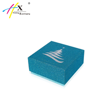 christmas favor blue glitter effect paper gift packaging box