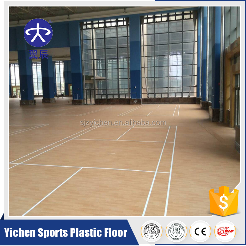 Yichen PVC Plastic Basketball Court Maple Wood PVC Flooring