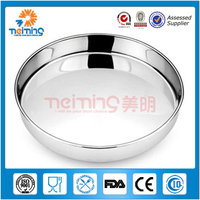 36cm Custom Non-slip Stainless Steel Round Metal Tray/Bakery Tray